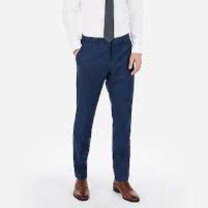 Slim Blue Wool-Blend Stretch Suit Pant